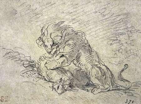 konfigurieren des Kunstdrucks in Wunschgröße Lion Consuming a Sheep von Delacroix, Eugene