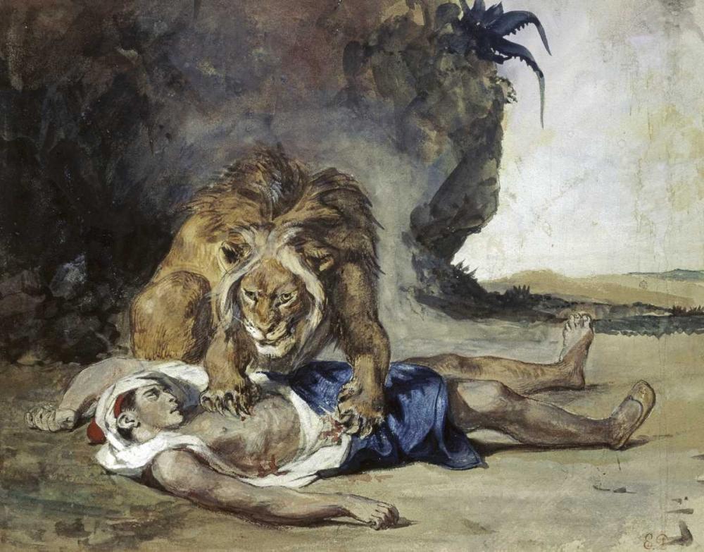 konfigurieren des Kunstdrucks in Wunschgröße Lion Rending Apart a Corpse von Delacroix, Eugene