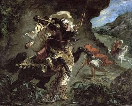 konfigurieren des Kunstdrucks in Wunschgröße Tiger Hunt von Delacroix, Eugene