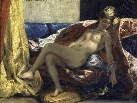 konfigurieren des Kunstdrucks in Wunschgröße Woman Caressing a Parrot von Delacroix, Eugene