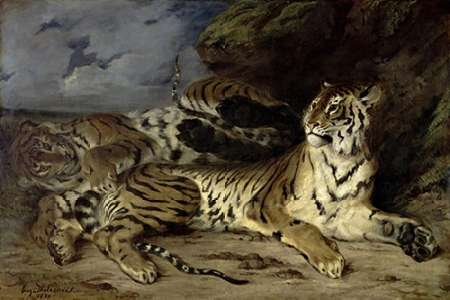 Young Tiger Playing with his Mother von Delacroix, Eugene <br> max. 112 x 74cm <br> Preis: ab 10€