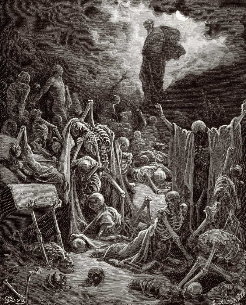 konfigurieren des Kunstdrucks in Wunschgröße The Visions of Ezekiel The Vision of the Valley of the Dry Bones von Dore, Gustave