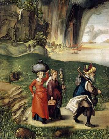 konfigurieren des Kunstdrucks in Wunschgröße Lot and His Family Fleeing From Sodom von Durer, Albrecht