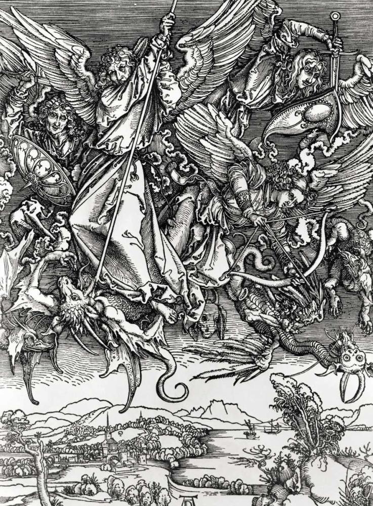 St. Michael Fighting the Dragon von Durer, Albrecht <br> max. 74 x 102cm <br> Preis: ab 10€