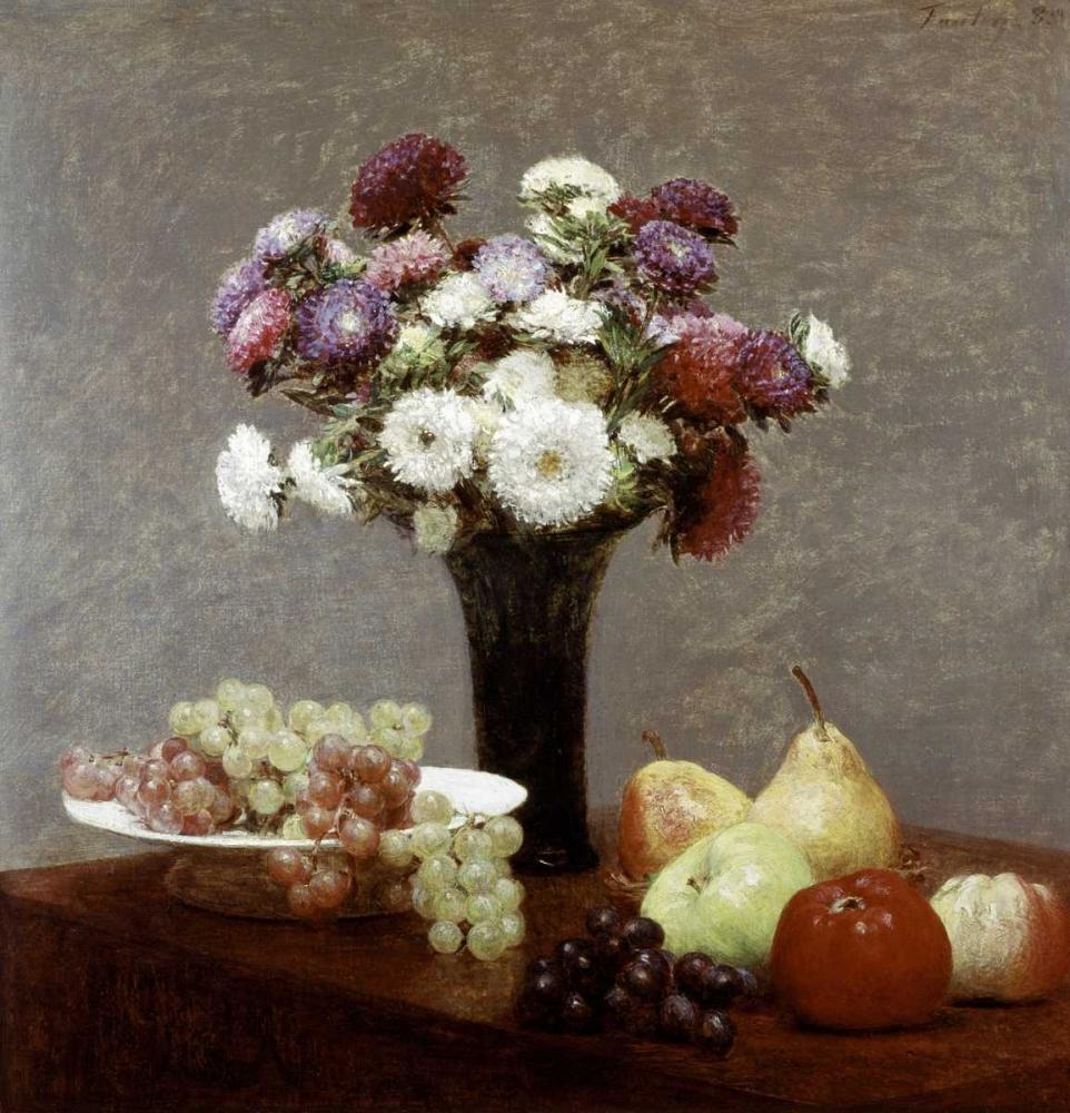 konfigurieren des Kunstdrucks in Wunschgröße Still Life With Dahlias and Fruit von Fantin-Latour, Henri