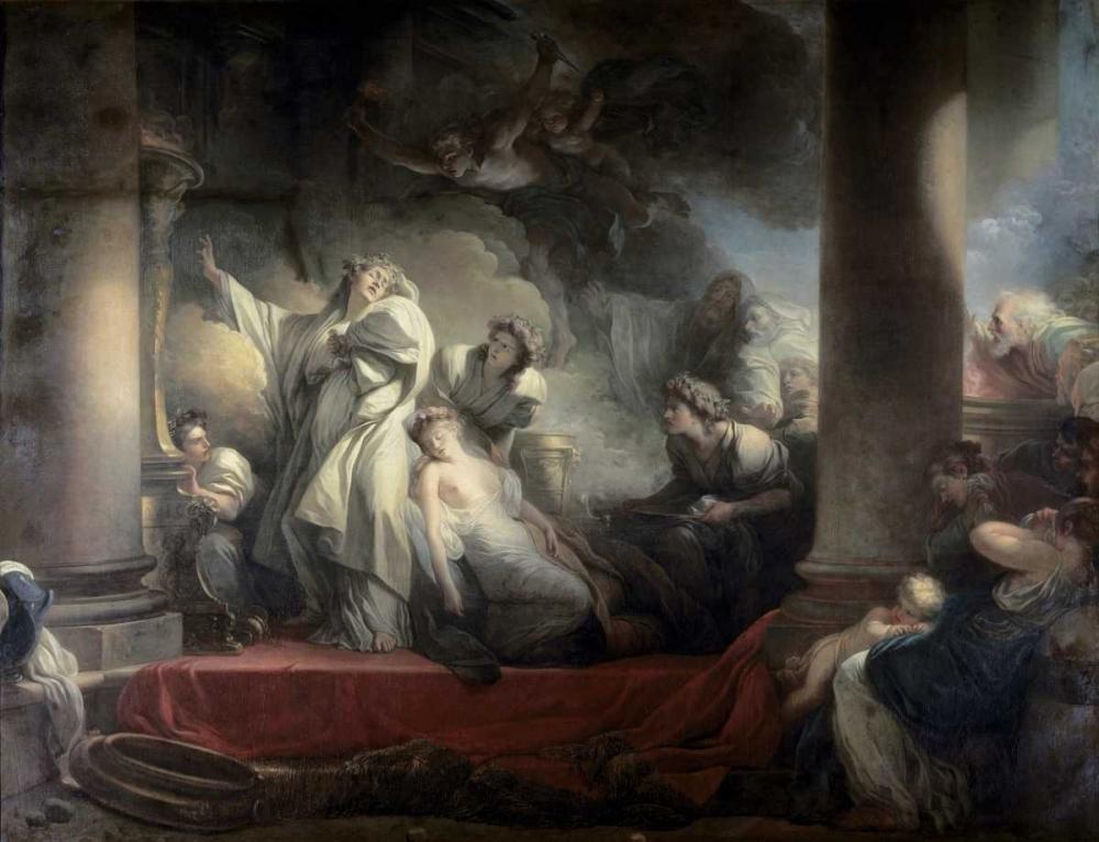 konfigurieren des Kunstdrucks in Wunschgröße High Priest Coresus Sacrifices Himself To Save Callirhoe von Fragonard, Jean Honore