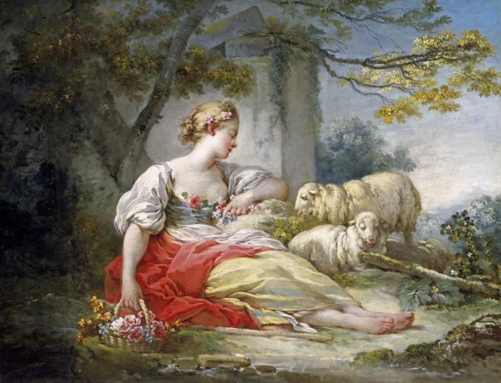 konfigurieren des Kunstdrucks in Wunschgröße Shepherdess Seated with Sheep and a Basket of Flowers Near a Ruin in a Wooded Landscape von Fragonard, Jean Honore
