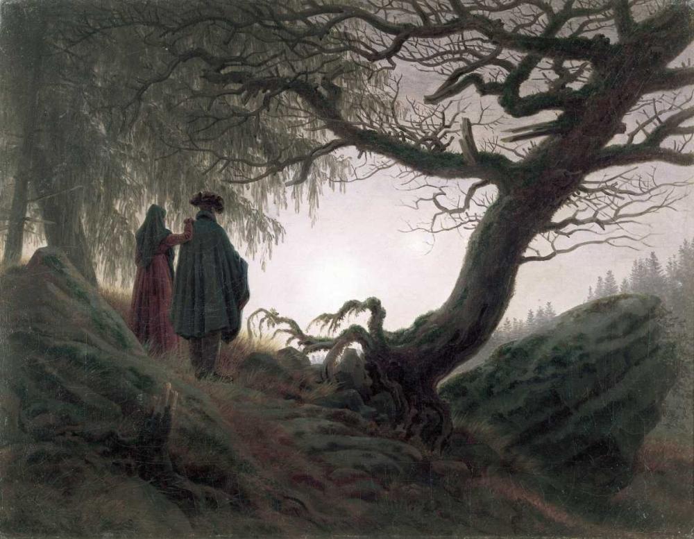 konfigurieren des Kunstdrucks in Wunschgröße Man and Woman Contemplating The Moon von Friedrich, Caspar David