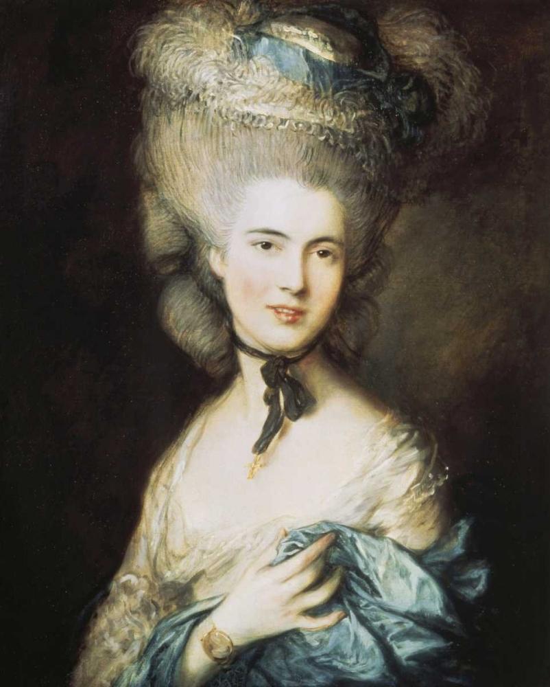 konfigurieren des Kunstdrucks in Wunschgröße A Woman In Blue, Portrait of The Duchess of Beaufort von Gainsborough, Thomas