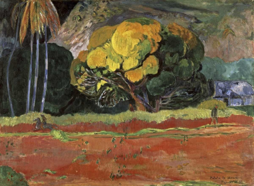 konfigurieren des Kunstdrucks in Wunschgröße At the Foot of a Mountain - Fatata Te Moua von Gauguin, Paul