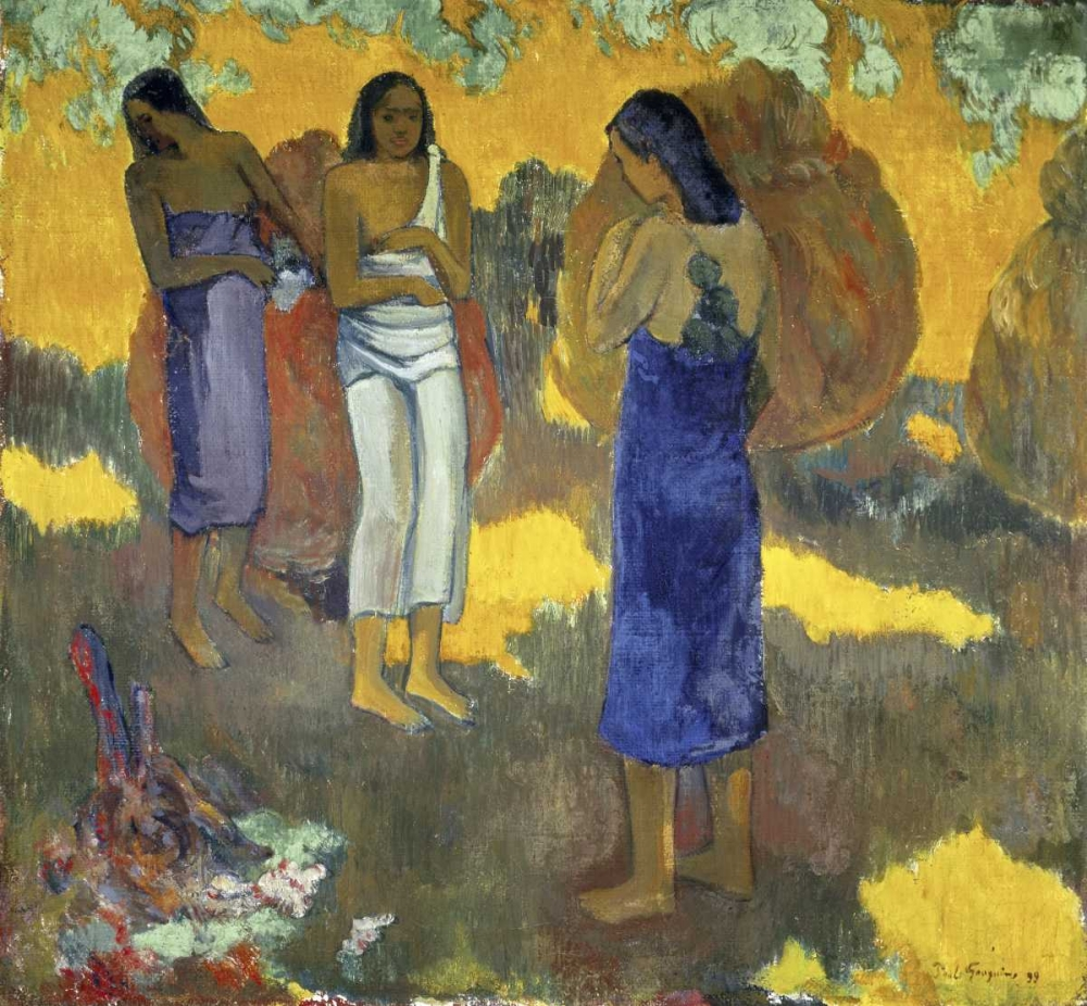 konfigurieren des Kunstdrucks in Wunschgröße Three Tahitian Women Against a Yellow Background, - Trois Tahitiennes sur un Fond Jaune von Gauguin, Paul