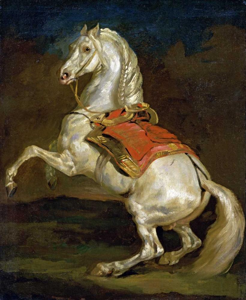 konfigurieren des Kunstdrucks in Wunschgröße Rearing Horse - Cheval Cabre von Gericault, Theodore