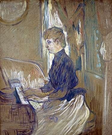 konfigurieren des Kunstdrucks in Wunschgröße At the Piano, Madame Juliette Pascal in the Salon of the Malrome Palace von Toulouse-Lautrec, Henri