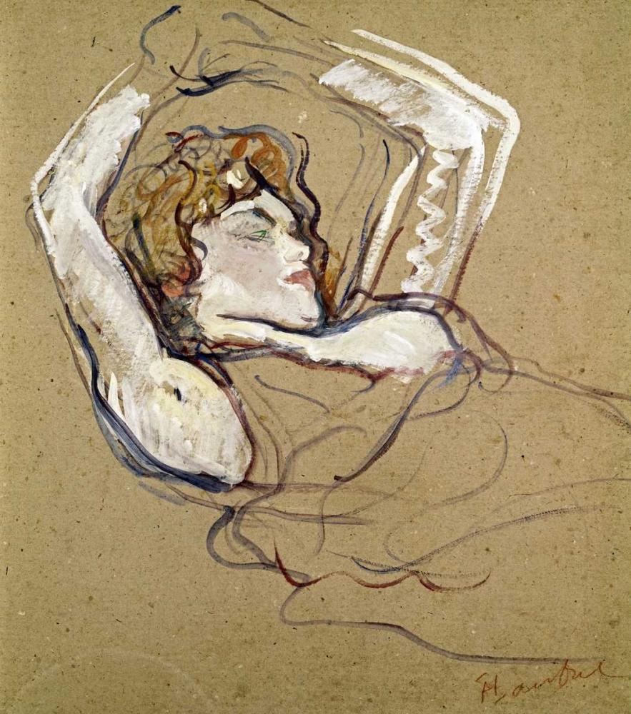 konfigurieren des Kunstdrucks in Wunschgröße Woman Sleeping on the Back von Toulouse-Lautrec, Henri