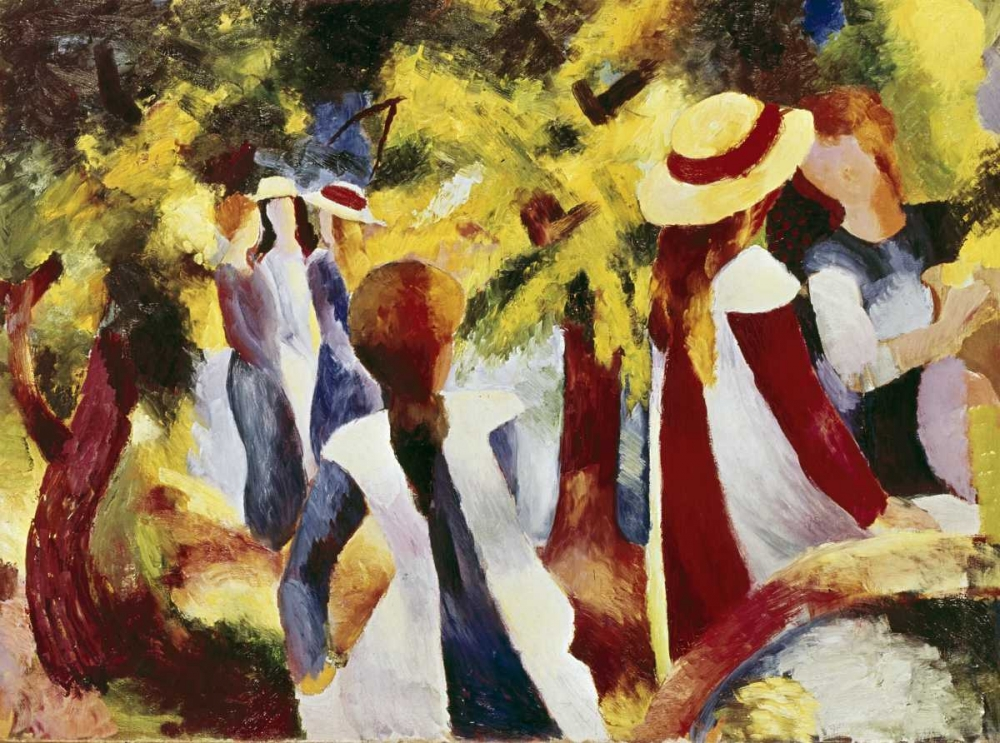 abstract,children,figures,flowers and plants,trees,landscapes and scenery,people,Abstract Figurative,Abstract,Children''s Art,Floral,Nature,Figurative,278319,Girls Among Trees,Macke, August,Horizontal