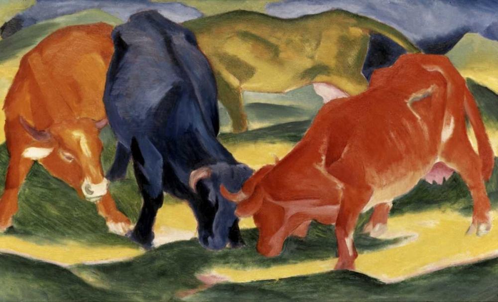 konfigurieren des Kunstdrucks in Wunschgröße Fighting Cows von Marc, Franz