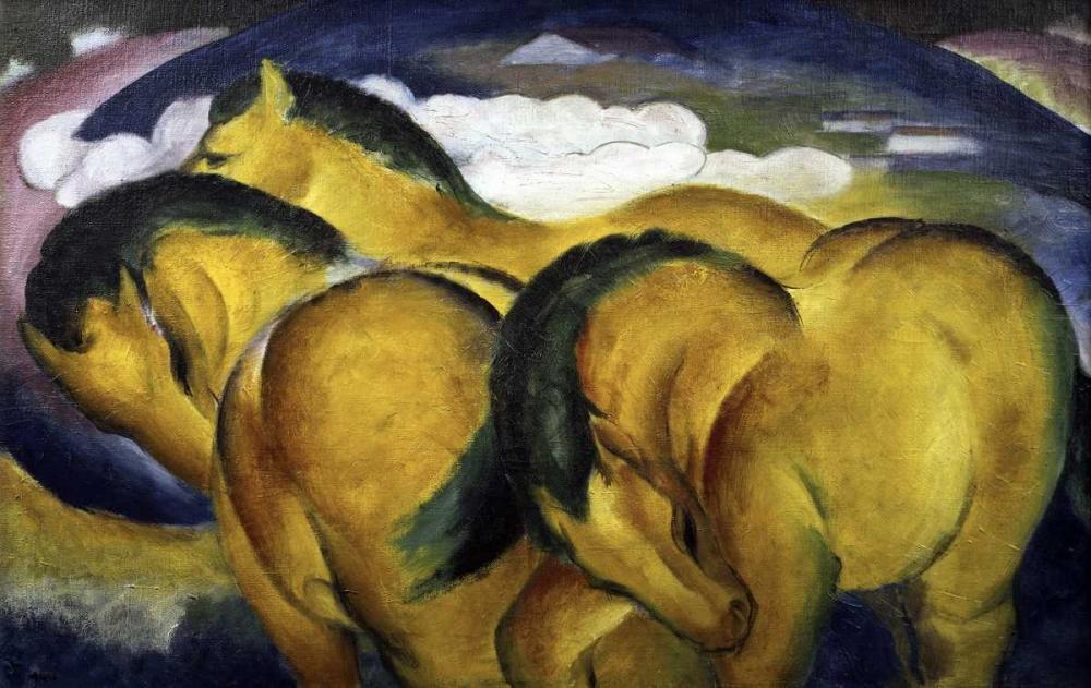 konfigurieren des Kunstdrucks in Wunschgröße Little Yellow Horses von Marc, Franz
