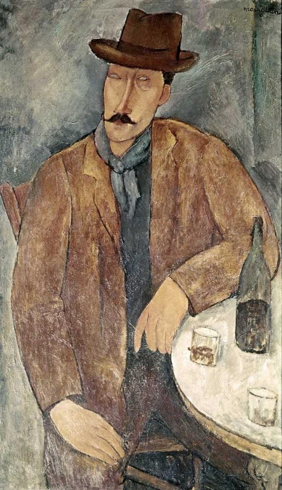 konfigurieren des Kunstdrucks in Wunschgröße Man With a Wine Glass von Modigliani, Amedeo