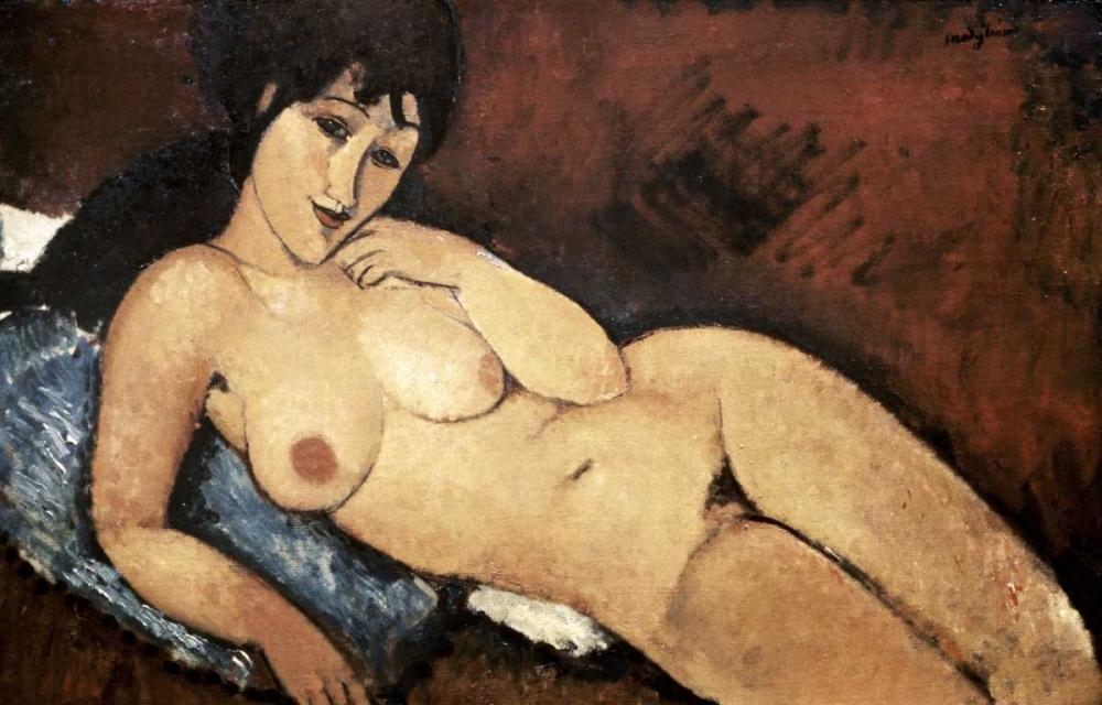 Nude on a Blue Cushion von Modigliani, Amedeo <br> max. 81 x 51cm <br> Preis: ab 10€
