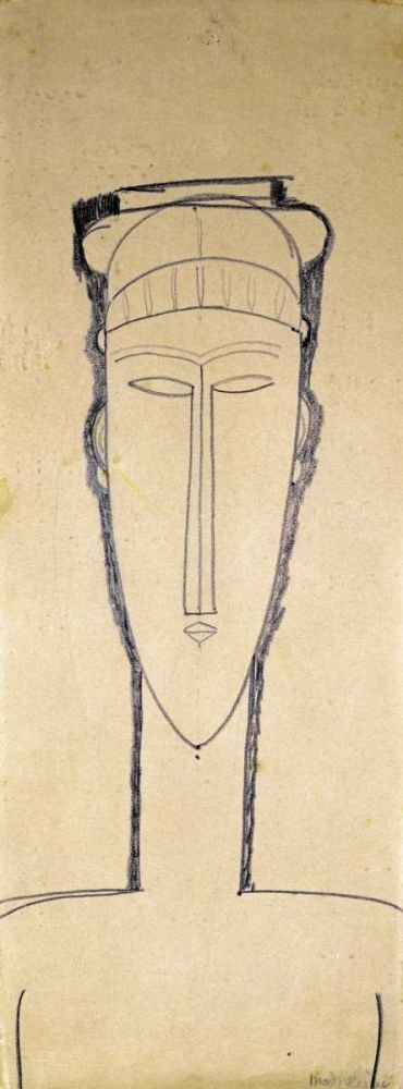 konfigurieren des Kunstdrucks in Wunschgröße Tete De Cariatide von Modigliani, Amedeo