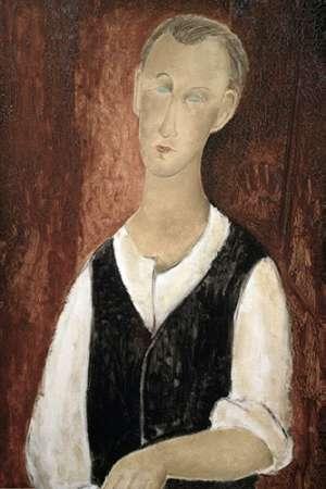 konfigurieren des Kunstdrucks in Wunschgröße Young Man With a Black Vest von Modigliani, Amedeo