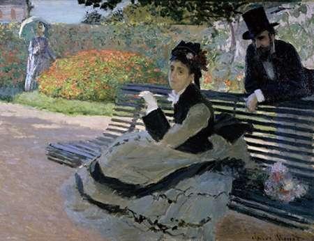 konfigurieren des Kunstdrucks in Wunschgröße Camille Monet on a Garden Bench von Monet, Claude