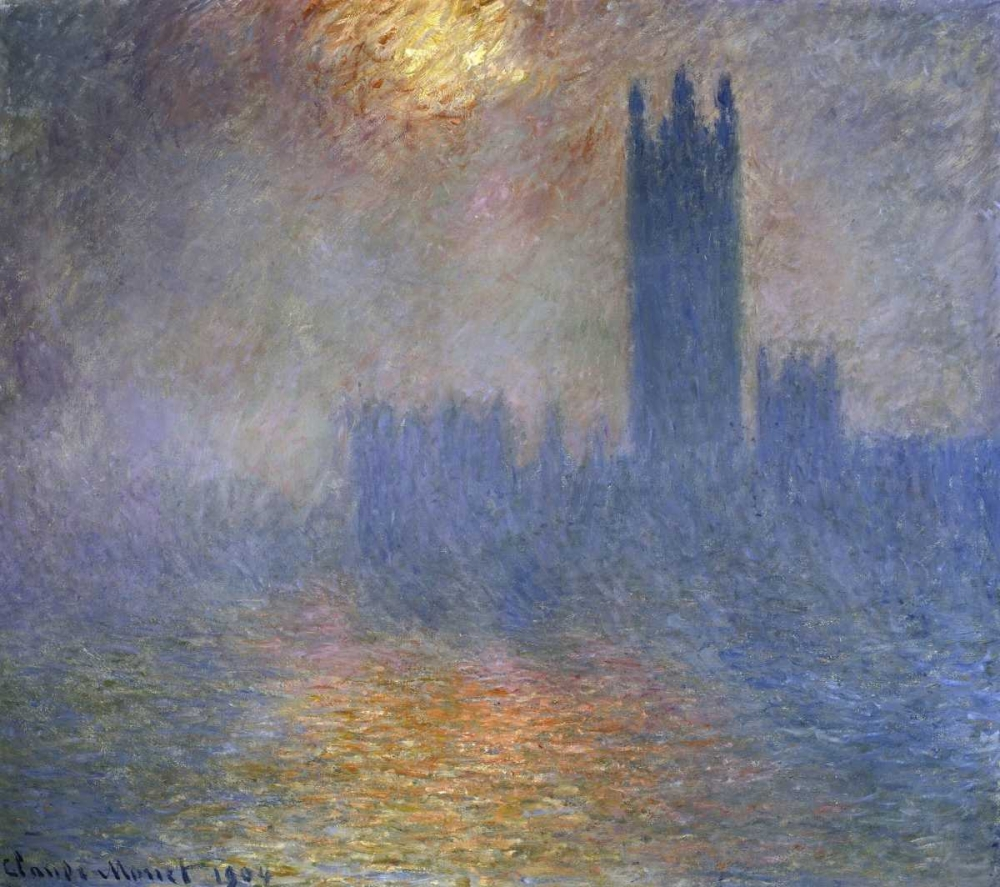 konfigurieren des Kunstdrucks in Wunschgröße London Parliament - Patch of Sun in the Fog von Monet, Claude
