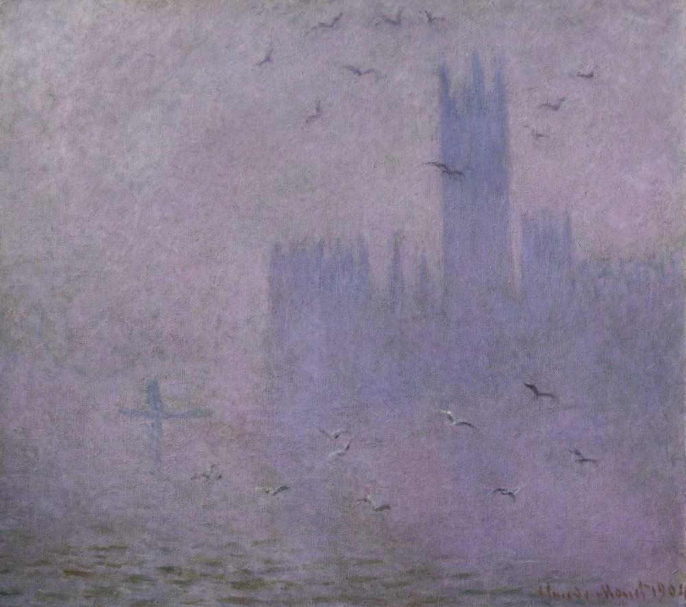 konfigurieren des Kunstdrucks in Wunschgröße Seagulls - The River Thames and Houses of Parliament, London von Monet, Claude