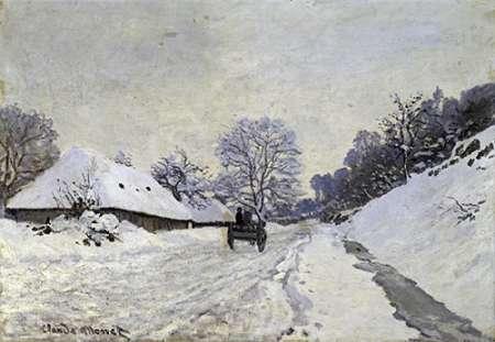 konfigurieren des Kunstdrucks in Wunschgröße Snow-Covered Road at Honfleur von Monet, Claude