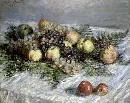 konfigurieren des Kunstdrucks in Wunschgröße Still Life with Pears and Grapes von Monet, Claude