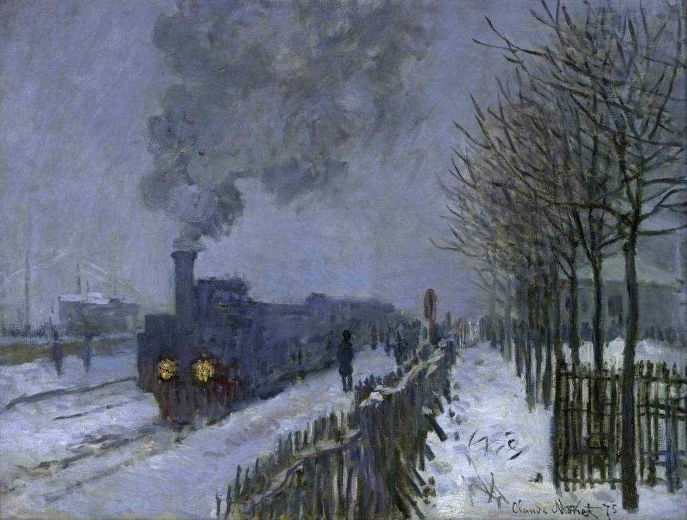konfigurieren des Kunstdrucks in Wunschgröße Train in the Snow, 1875 von Monet, Claude