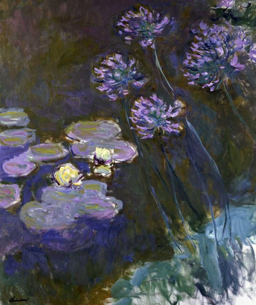 konfigurieren des Kunstdrucks in Wunschgröße Water Lilies and Agapanthus von Monet, Claude