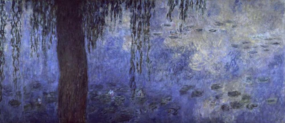 konfigurieren des Kunstdrucks in Wunschgröße Water Lilies: Morning with Willows, c. 1918-26 - right panel von Monet, Claude