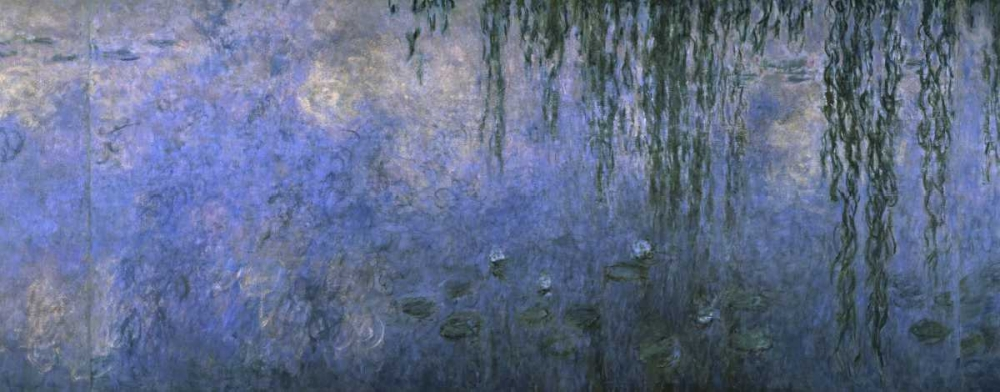 konfigurieren des Kunstdrucks in Wunschgröße Water Lilies: Morning with Willows, c. 1918-26 - center panel von Monet, Claude