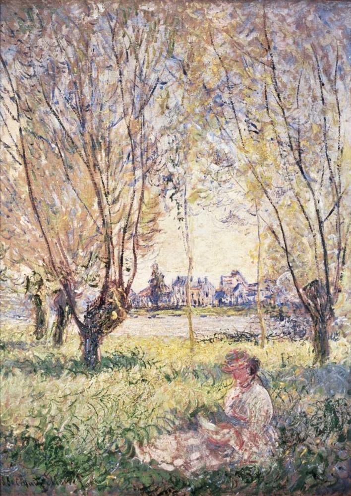 konfigurieren des Kunstdrucks in Wunschgröße Woman Seated under the Willows von Monet, Claude
