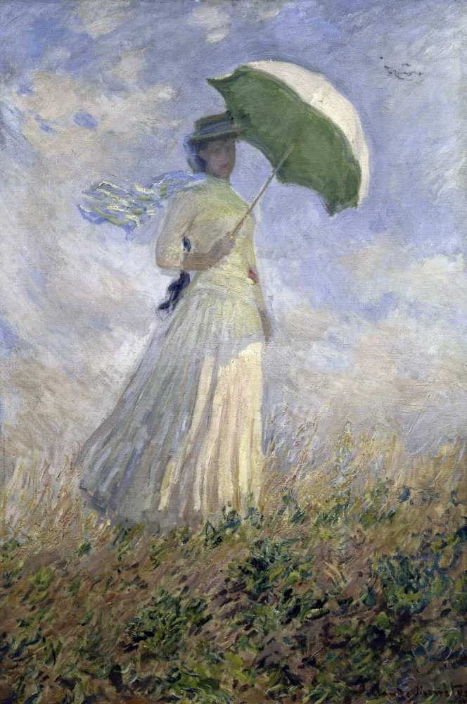 konfigurieren des Kunstdrucks in Wunschgröße Woman with a Parasol Turned to the Right von Monet, Claude