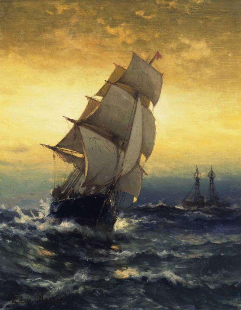 konfigurieren des Kunstdrucks in Wunschgröße Passing Ambrose Lightship von Moran, Edward
