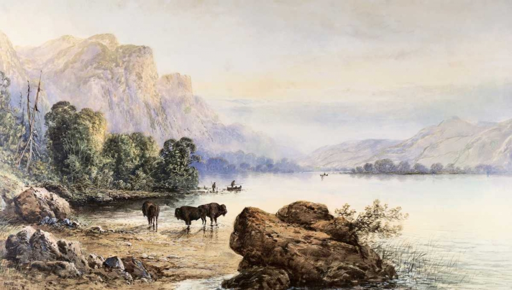 konfigurieren des Kunstdrucks in Wunschgröße Buffalo Watering von Moran, Thomas
