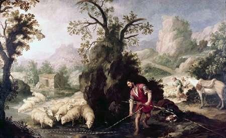 konfigurieren des Kunstdrucks in Wunschgröße Allegory-Jacob Laying The Peeled Rods von Murillo, Bartolome Esteban