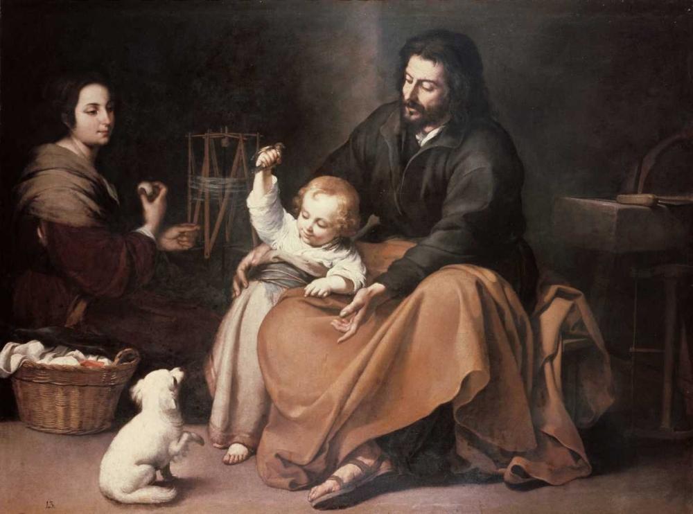 konfigurieren des Kunstdrucks in Wunschgröße Holy Family With a Bird von Murillo, Bartolome Esteban