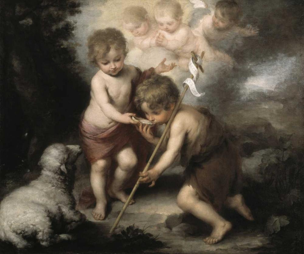 konfigurieren des Kunstdrucks in Wunschgröße Jesus and John The Baptist: Children W/ Shell von Murillo, Bartolome Esteban