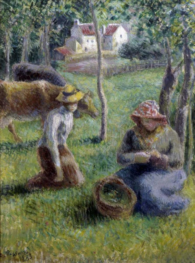 konfigurieren des Kunstdrucks in Wunschgröße Keeper of the Cows von Pissarro, Camille