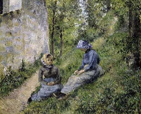 konfigurieren des Kunstdrucks in Wunschgröße Paysannes Assisses, Causant von Pissarro, Camille