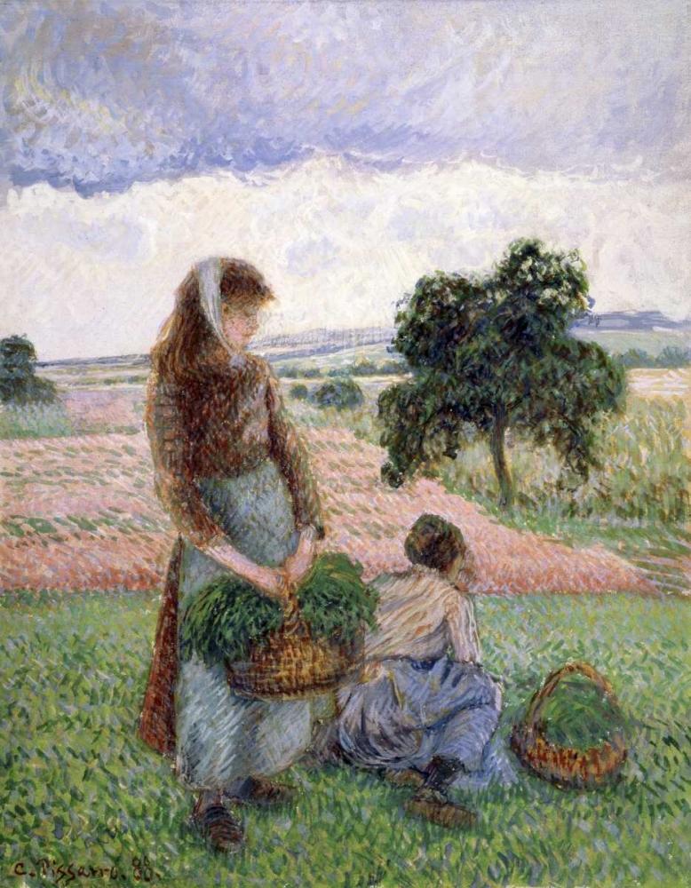 konfigurieren des Kunstdrucks in Wunschgröße Peasants Carrying a Basket von Pissarro, Camille