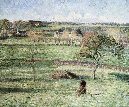 konfigurieren des Kunstdrucks in Wunschgröße Prairies De Bazincourt, Automne von Pissarro, Camille