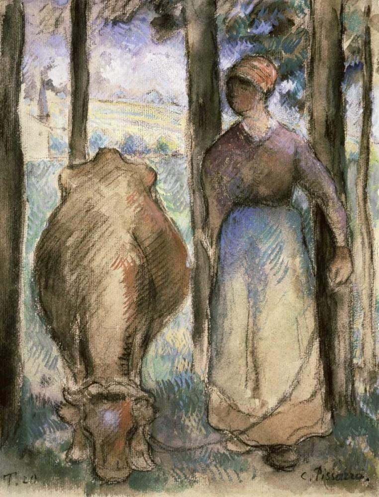 konfigurieren des Kunstdrucks in Wunschgröße The Cowherd - La Vachere von Pissarro, Camille