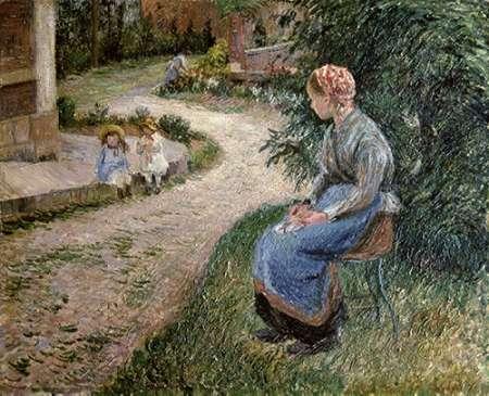 konfigurieren des Kunstdrucks in Wunschgröße The Servant Seated in the Garden of Eragny von Pissarro, Camille