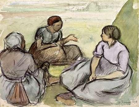 konfigurieren des Kunstdrucks in Wunschgröße Three Peasant Women von Pissarro, Camille