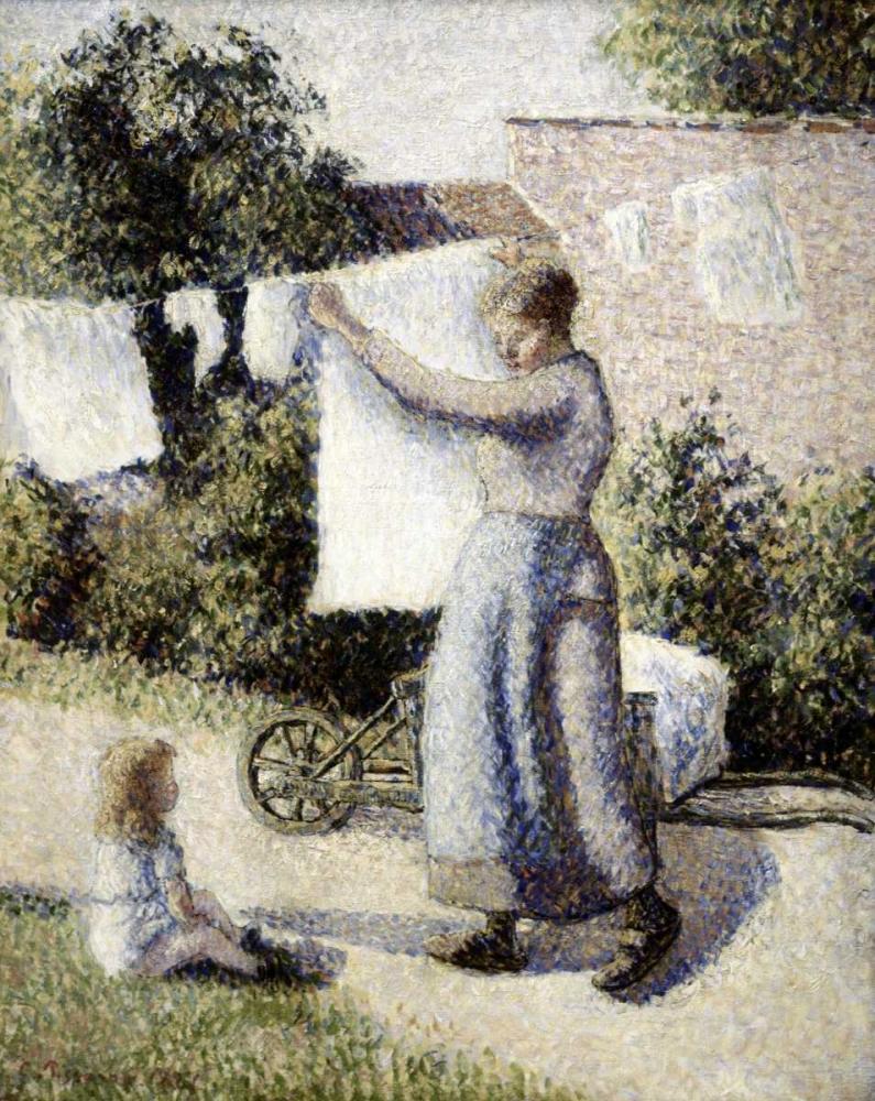 konfigurieren des Kunstdrucks in Wunschgröße Woman Hanging Laundry von Pissarro, Camille
