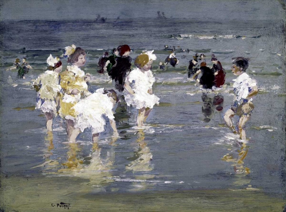 konfigurieren des Kunstdrucks in Wunschgröße Children on the Beach von Potthast, Edward Henry